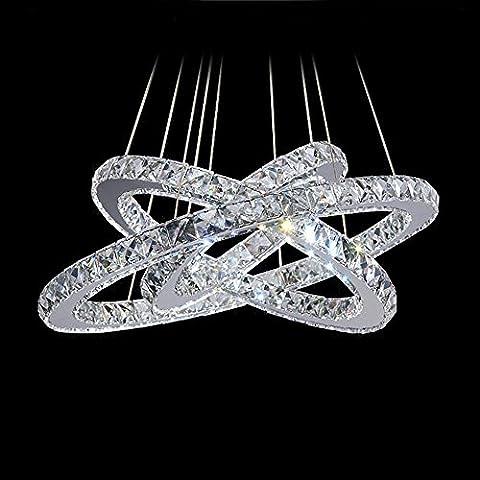 3 Anillo de diamantes candelabro de cristal LED Luz Lámpara de iluminación LED modernos círculos,3anillos D40cm D30cm D20cm #32