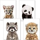 ARTpin® 4er Set Poster Kinderzimmer Babyzimmer A4 Ohne Rahmen - Dekoration Mädchen Junge - Baby Tiere Panda Waschbär Tiger (P33)