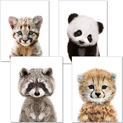 ARTpin® 4er Set Poster Kinderzimmer Babyzimmer A4 Ohne Rahmen - Dekoration Mädchen Junge - Baby Tiere Panda Waschbär Tiger (P33) -