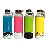 San Zi 550ml Premium resistente a golpes. Cristal botella de agua, botella de agua, zumo recipiente,...