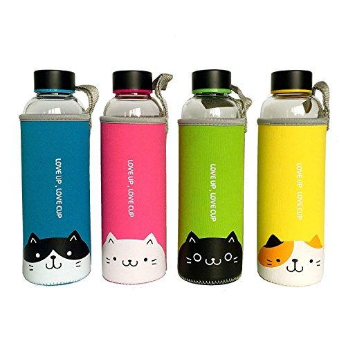 San Zi 18 oz Premium bruchfestem Glas Wasser Flasche, Trinkflasche, Saft Container, With hot und Kälte isoliert Sleeve..., rose (Getränke-container Glas)