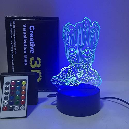 schöne Groot BABY 3D LED-Licht Tischlampe ? Fernbedienung berühren Illusion Nachtlichter 7 Farben ändern Stimmung Lampe 3AA batteriebetriebene USB-Lampe (Batterie nicht enthalten) -