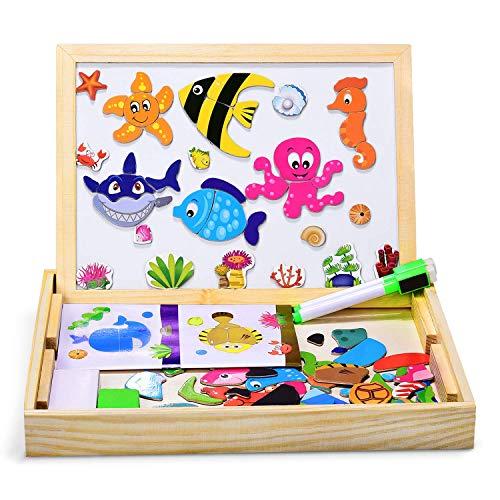 DOOKEY Puzzles Rompecabezas Magnéticos de Madera Juguete Educativo Tablero de Dibujo de Doble Cara para Niños Niña 3 Años 4 Años 5 Años - Acerca de 100 Piezas (Vida Marina)