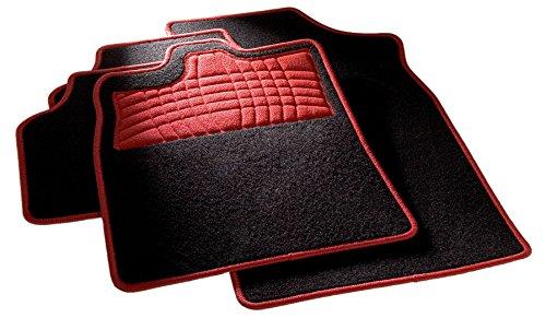 carfashion 254577universal pie | Juego de alfombrillas para escalón Protección y costuras en rot| sin soporte, Auto Esterilla apta para muchos tipos Auto