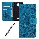 Kompatibel mit Moto C Plus Hülle,JAWSEU Sonnenblume Schutzhülle Brieftasche Hülle Leder Tasche Handyhülle LederHülle Flip Case Wallet Tasche Handytasche für Moto C Plus,Mandala Blau