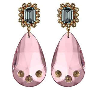 Mawi London Gemstone Drop Earrings with Spiked Clear