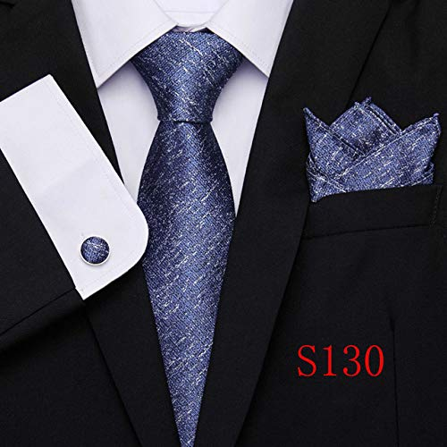 QDLLJ Brown Plaid Men Ties Set Krawatte Blue Paisley Jacquard Woven Neck Tie Anzug Hochzeit S130 Blue Woven Tie