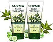 Amazon Brand - Solimo Neem Facewash with Aloe Vera & Cucumber Extracts, SLES & Paraben Free, 2