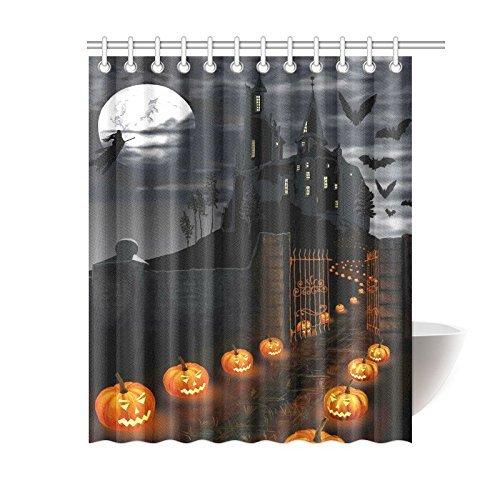 InterestPrint Halloween Kürbis Home Decor, Full Moon Night Haunted Castle Polyester Stoff Vorhang für die Dusche Badezimmer-Sets mit Haken 182,9x 182,9cm, Textil, Multi 1, 60 X 72 inch