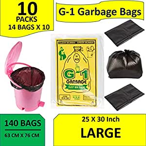 G 1 140 pcs 25 X 30 Large Disposable Garbage Trash Waste Dustbin Bags of 63cm x 76cm
