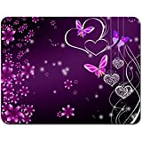Meffort Inc Standard 9.5 x 7.9 Inch Mouse Pad - Pink Purple Butterfly Design