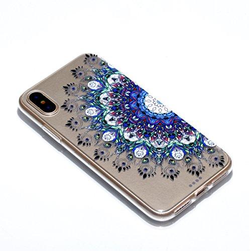 iPhone X Hülle, Voguecase Silikon Schutzhülle / Case / Cover / Hülle / TPU Gel Skin für Apple iPhone X(Einhorn und Blume) + Gratis Universal Eingabestift Bunt Teppich 07