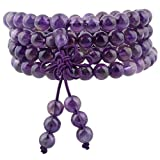 mookaitedecor Tibétain Mala Bracelet 108 Perles Pierres Élastique Collier Bouddhistes Chakra,Améthyste