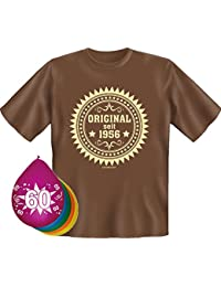 Geschenkset zum 60. Geburtstag T-Shirt und 5 Luftballons verschiedene Farben und Motive waehlbar
