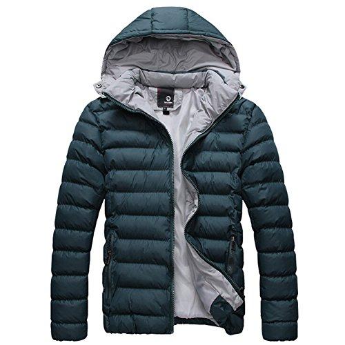 Highdas Coton manteaux d'hiver d'homme Doudoune Hommes super chaude design capuche Homme Veste ¨¦paisse ext¨¦rieure Vert fonc¨¦