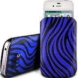 N4U ONLINE Alcatel One Touch Pixi Premium Kunstleder Zieh Kippen Tab Schutzhülle Etui - Verscheidene Farben - Blau Zebra Design