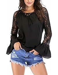Yesmile Damen Blusen Rüsche Lange Ärmel Casual Tunic Bluse Shirt Spitze  Patchwork Lässiges T-Shirt Elegantes… 5f876b409c