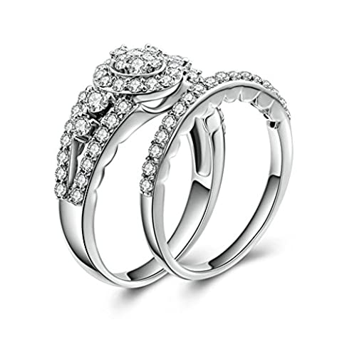 (Free Engraving)Adisaer 925 Sterling Silver Wedding Band for Women Promise Ring Engraved Cubic Zirconia Size R