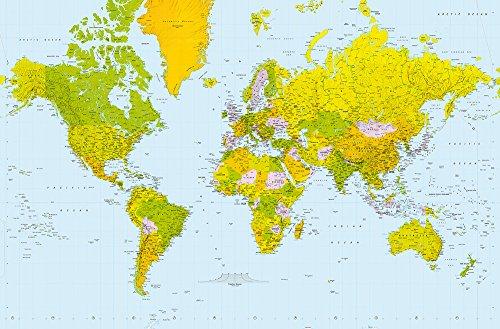 Map of The World - Giant Art® XXL-Poster Wallpaper 175x115cm - 1-teilig Beigelegt sind eine Packung Kleber und eine Klebeanleitung. Made in Germany. -