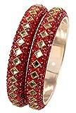 Touchstone - Juego de 2 brazaletes de Metal con Cuentas Rojas de Estilo Indio Bollywood con Aspecto de Kundan facetado y Forma Cuadrada, para Mujer