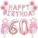 KUNGYO 60 ème Anniversaire Décorations Kit-Rose Or Happy Birthday Bannière- Géant Numéro 60 et étoiles Hélium Foil Ballons, Rubans, Papier Pom Fleurs, Ballons en Latex, Fournitures de fête pour Femmes