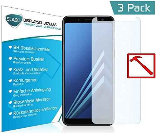 Slabo 3 x Premium Panzerglasfolie für Samsung Galaxy A8 (2018) Echtglas Displayschutzfolie Schutzfolie Folie Tempered Glass KLAR - 9H Hartglas
