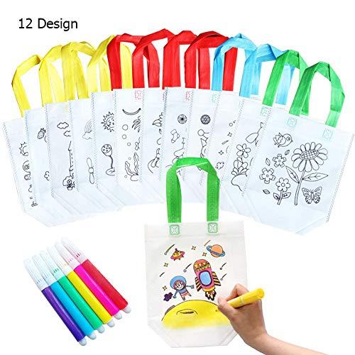 QYY 12 Bolsas para Colorear,DIY Estuches Infantiles para Colorear,12 Diferentes Diseño con...