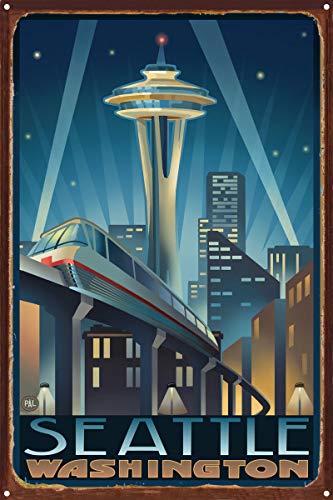 Northwest Art Mall Space Needle Seattle Center Seattle Washington Rustikal Metall Kunstdruck von {Künstler. fullname} ({outputsize. shortdimensions}) 12x18 inch