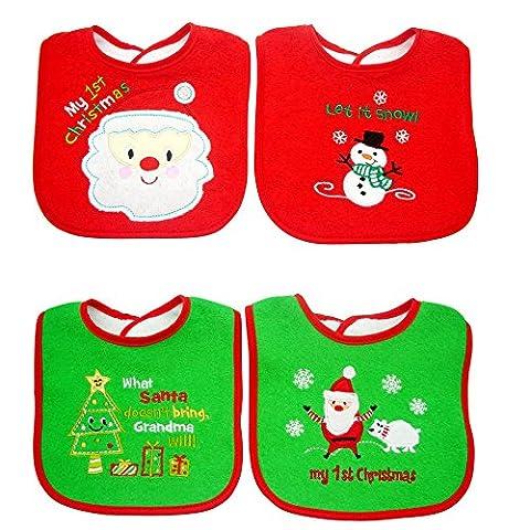 Bavoir bébé noël-Coton avant dribbler bavoirs avec attache Velcro 0à environ 3ans (Lot de 4Coffret cadeau) fille/garçon de Noël Vert et Rouge par Dream