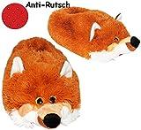 Unbekannt Hausschuhe / Pantoffel -  Fuchs  - Größe Gr. 43 - 44 - 45 - 46 - 47 - 48 __ schön warm __ Plüschhausschuh / Tier - Tiere - für Kinder & Erwachsene - ABS Soh..