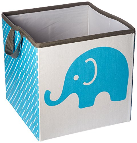 bacati elefantes almacenamiento bolsa cesta, Aqua/lima/gris, pequeña