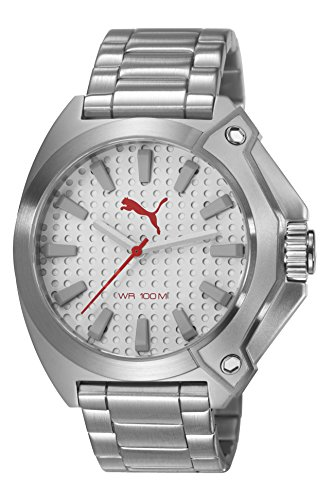 Puma Zone Unisex Quartz Watch with Silver Dial Analogue Display and Silver Stainless Steel Bracelet PU103811005