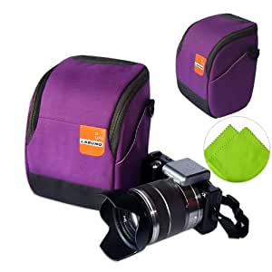 First2savvv high quality anti-shock purple Nylon camera case bag for Sony A6000 with LENS Cleaning Cloth