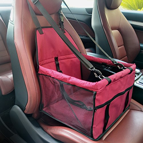 Foldable Pet Booster Seat Carrier Bag Soft Washable  with Zipper Storage Pocket (Red)