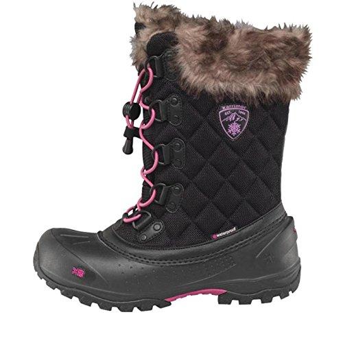 Schwarz/Pink/Grau Karrimor Damen Alaska Wasserdichte Schneestiefel Schwarz - 8 UK 8 EUR 42 (Slouch Schnallen-knie-boot)