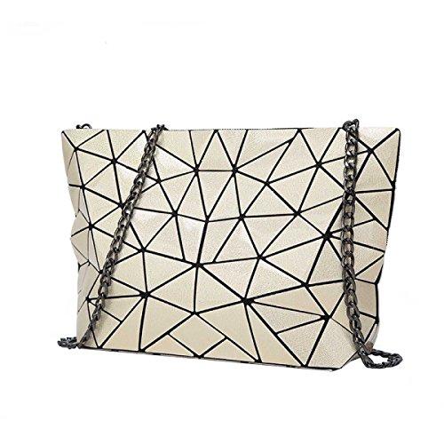 Signore Laser Rhombus Bag Pieghevole Geometrica Lingge Spalla Irregolare Bag Beige