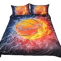 Home Kit de Textiles para El Hogar Cubierta de Colcha de Baloncesto de 3 Piezas (