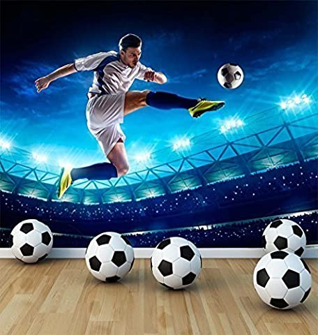 Football Soccer Player Wall Mural Photo Wallpaper Boys Kids Bedroom Playroom Football Stadium (XX Large 3000mm x 2400mm)