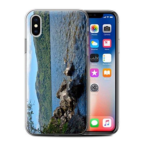 Stuff4 Gel TPU Hülle / Case für Apple iPhone X/10 / Strom Muster / Schottisch Landschaft Kollektion Loch/Felsen