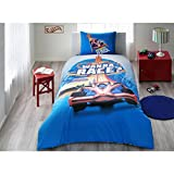 TI Home Hot Wheels Race Officiels Housse de Couette, 100% Coton Ranforce, Taille...