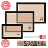 Scoomo Silicone Baking Mat Set of 3 Black | NonStick Washable Reusable Liner Sheets For Amazing Cooking Results Without Oil or Parchment in Oven Tray/Grill + FREE 17cm Pastry Brush | Pro Bakeware
