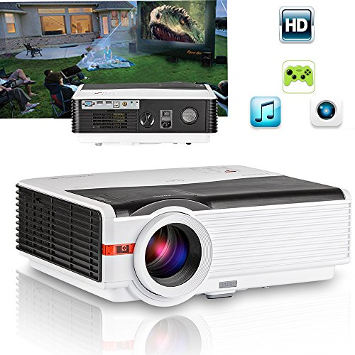 caiwei 5000 Lumens Home Entertainment Projektor Full HD 1080p Support LED LCD Home Cinema Movie Gaming TV Beamer mit HDMI USB VGA Ausgang Audio AV für Apple iPhone iPad Macbook Android Windows Smartphone Laptop Tablet PC PS3 PS4 Xbox DVD (Manuel Anglais und UK Plug)