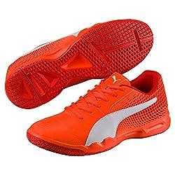 Puma Unisex Veloz Indoor Ng Shocking Orange-Puma White-Cherry Tomato Badminton Shoes - 5 UK/India (38 EU)