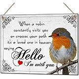 Robin Sympathy Loved One In Heaven Metal Hand Made Plaque & Fridge Magnet Keepsake Gift Set