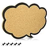 Navaris Kork Pinnwand Korkwand 44x29cm - Pinboard Korkwand Tafel - Pinwand im Gedankenwolke Design - Korktafel Korkplatte Memo Wand inkl. 5 Pins