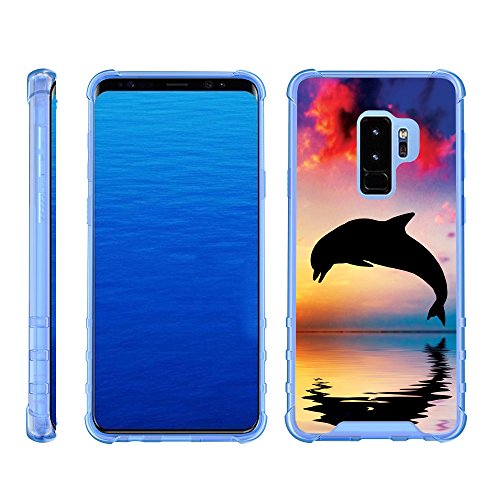 Samsung Galaxy S9+ Fall | S9Plus Fall | G965[Flexible Armor] Slim Fit Flexible TPU Case Shock Bumper Cover mit Blau Kanten Sea Ocean Design by turtlearmor -, Dolphin Jump -