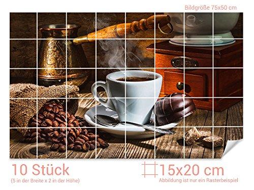 Graz Design 761665_15x20_50 Fliesenaufkleber Espresso/Kaffee-Bohnen für Kacheln  ...