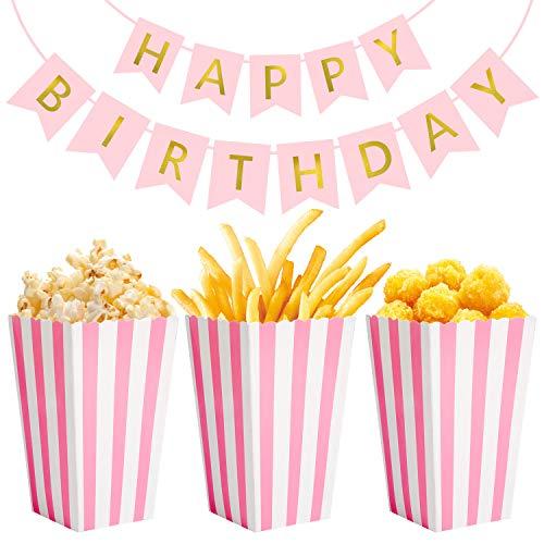 Vordas Happy Birthday Banner mit 24 Stück Popcorn Boxen Rosa für Kleine Mädchen Geburtstagsparty Dekorationen Gefälligkeiten