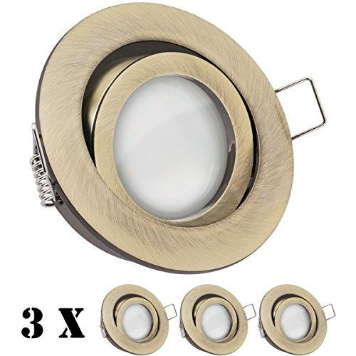 3er LED Einbaustrahler Set Messing mit LED GU5.3 / MR16 Markenstrahler von LEDANDO - 5W - warmweiss - 110° Abstrahlwinkel - 35W Ersatz - A+ - LED Spot 5 Watt - Einbauleuchte LED rund