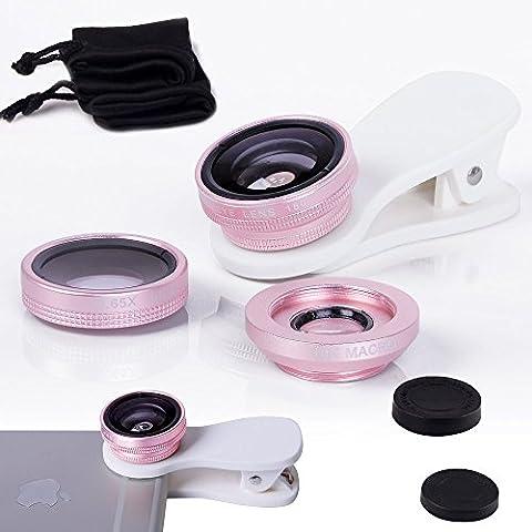 Fone-Case Pink Huawei G9 Plus Clip universale Il 3 in 1 Mobile Phone Camera Lens Kit 180 gradi Fisheye + Macro Lens + obiettivo grandangolare per Android e IOS